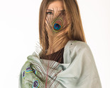 Exclusive Hand Painted Peacock Feather Art on Pure Mulberry Silk Scarf with Frin