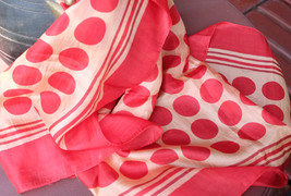 Pure Silk Scarf with Red Polka Pattern   - $34.99