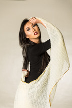 Pure Silk Crinkled Scarf with Golden Zari Border and Soft Pom Pom  - Fre... - $34.99