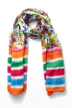 New Hand Painted and Colorful Block Printed Soft Chanderi Silk Stole Scarf - $24.99