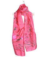 Pure Silk Scarf Hand Painted with Colorful Floral Art - Free Shipping in US - $44.99