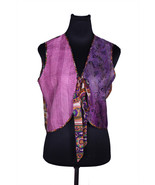 Quilted Pure Silk Kantha Reversible Vest Upcycled From Vintage Silk Fabric - $54.99