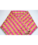 Luxurious Hand Woven Striped Benarasi Brocade Light-Weight Silk Fabric b... - $24.99