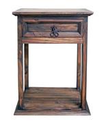 Rustic Dark Wax Tall Nightstand Western Cabin Lodge Solid Wood Bedroom B... - $173.25