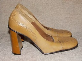 Nine West PUNCHED Tan Ox Pump Heels 6.5M For Women Used - $34.64