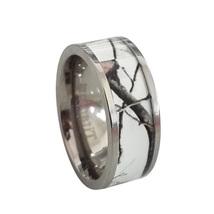 Unisex Titanium Snow Camo White Wedding Ring Band Outdoor Camouflage - $19.99