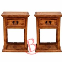 Two Rustic Tall Nightstands Western Cabin Lodge Solid Wood Bedroom Bedsi... - $356.40