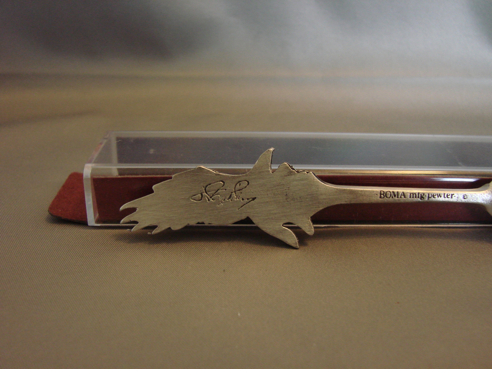 Boma Pewter Souvenir Collector Spoon Signed Eagle in Flight