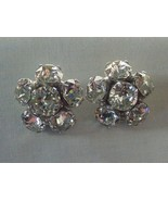 EXQUISITE VINTAGE EISENBERG CLEAR RHINESTONE CLIP ON EARRINGS IMPRESSIVE... - £57.35 GBP