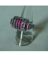 TOTAL BLING SHINY SILVER & RED CRYSTAL .925 SILVER RING ORNATE DESIGN KARIS - $125.00