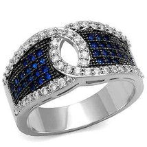 Silver Tone Blue and White Cubic Zirconia Anniversary Fashion Ring Size ... - $20.25