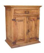 Rustic Large Nightstand Western Cabin Lodge Solid Wood Bedroom Bedside T... - $287.09