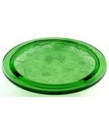 Jeannette Green Depression Glass Sunflower 3-footed Cake Plate 1930s - $11.99