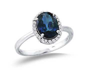 Sapphire and Diamond Ring in 14kt Solid White Gold