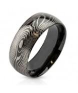 Damascus Steel/Mokume Gane Replica Plated Wedding Band Ring for Men - $34.79