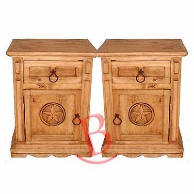 Two Rustic ​San Gabriel Nightstands With Star Western Cabin Lodge Solid Wood