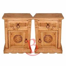 Two Rustic San Gabriel Nightstands With Star Western Cabin Lodge Solid Wood - $455.40