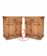 Two Rustic Large Nightstands Western Cabin Lodge Solid Wood Bedroom Bedside - $574.19