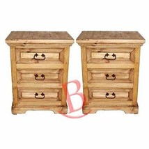 Two Rustic ​Oasis Nightstands Western Cabin Lodge Solid Wood Bedroom Bed... - $495.00
