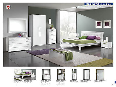 Geko Full Bed Modern Contemporary White Lacquer Bedroom Furniture Made in Italy