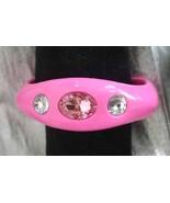 Fabulous Rhinestone Pink Plastic Bangle Bracelet - $14.80