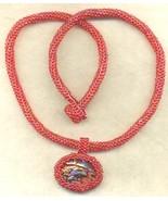 Paua Shell Pendant Red Beaded Rope Choker 3 - $33.71