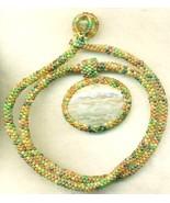 Camo Marble Pendant Autumn Colors Beaded Rope C... - $33.71