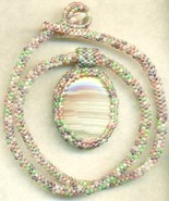 Arizona Marble Pendant Spring Colors Beaded Rop... - $33.71