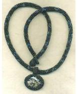 Paua Shell Pendant Black Beaded Rope Choker 1 - $33.71