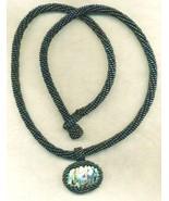 Paua Shell Pendant Black Beaded Rope Choker 2 - $33.71