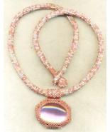 Pink Cateye Pendant Pink Beaded Rope Choker 10 - $33.71