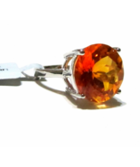 Orange Padparadscha Quartz Round Solitaire Ring, 925 Silver, Size 6, 11.... - $49.99