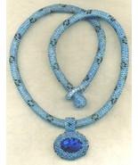 Paua Shell Pendant Blue Beaded Rope Choker 4 - $33.71