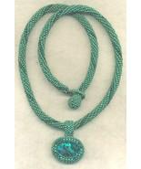 Paua Shell Pendant Green Beaded Rope Choker 5 - $33.71