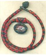 Paua Shell Pendant Red Black Pattern Beaded Rop... - $33.71