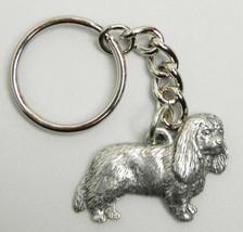 Cavalier King Charles Dog Keychain Keyring Harris Pewter Made USA Key Ch... - $8.69