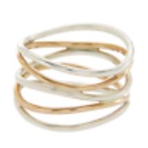 Tiffany & Co Elsa Peretti Silver & 18K Rose Gold Wave 5 Raw Ring Size 6 ... - $692.85
