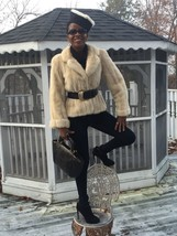 Designer cuffed sable cream white Mink Fur coat jacket bolero Stroller S-M 2-10 - $599.99