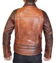 Classic Brando Lambskin Vintage Distressed Brown Leather Biker Jacket image 4