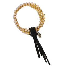 Stretch Double Strand Champagne Beaded Bracelet with Black Leather Tassel