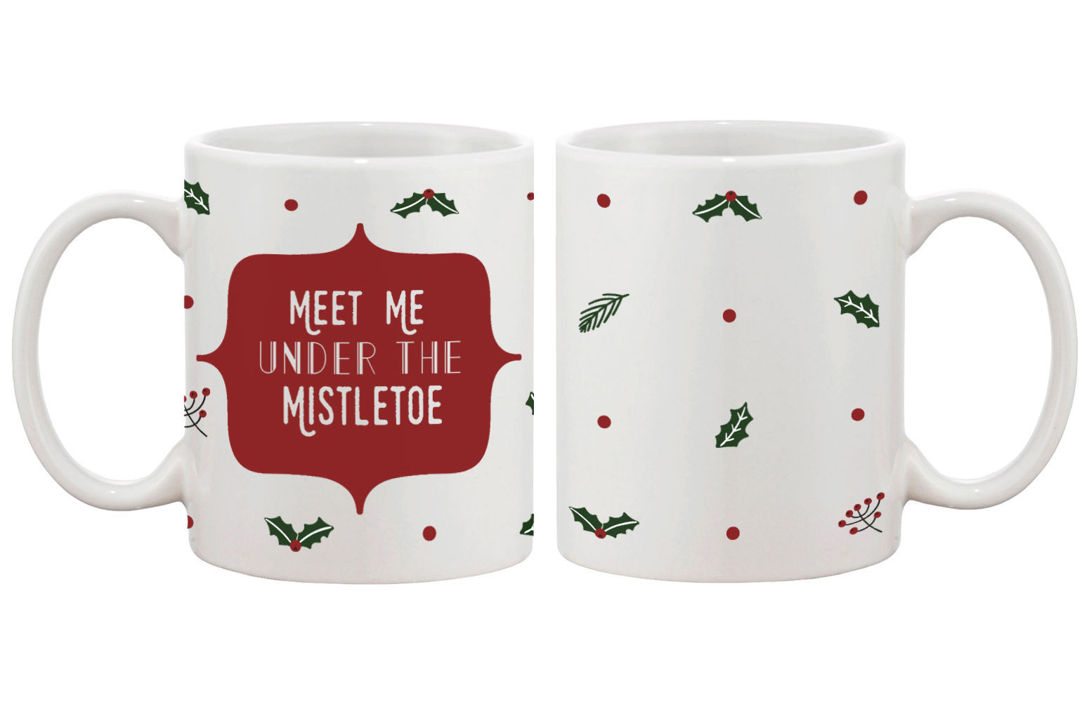 Meet Me Under The Mistletoe Pattern Coffee Mug for Holidays Christmas Gift Idea
