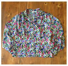 Vintage 1980s Koret Petites Colorful Patterned Button Down Blouse Large ... - $8.90
