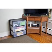 NEW Sterilite Storage 3 Drawer Wide Cart with C... - $28.68