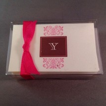 Letter Y Initial Stationary Gift Cards Envelopes Regal Pink Brown Monogram - $11.64