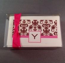 Letter Y Initial Stationary Gift Cards Envelopes Damask Pink Brown Monogram - $11.64