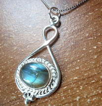 Labradorite 925 Sterling Silver Necklace with Rope Style Accent New r611r - $25.54