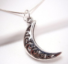 Half Moon Filigree Necklace 925 Sterling Silver Corona Sun Jewelry - $18.80