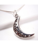 Half Moon Filigree Necklace 925 Sterling Silver Corona Sun Jewelry - £11.91 GBP