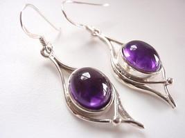 Purple Amethyst Wonderfully Curvy Dangle Earrings 925 Sterling Silver Co... - $16.73