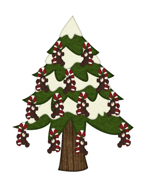 Candy Cane Bear Tree-Digital clipart